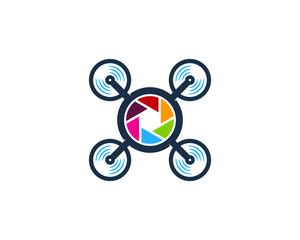 Camera Drone Icon Logo Design Element