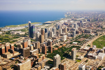 CHICAGO, USA - 20 July, 2017: Aerial view of Chicago, Illinois.