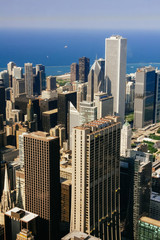 CHICAGO, USA - 20 July, 2017: City of Chicago. Aerial view of Chicago e.