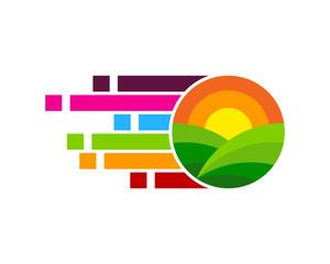 Pixel Farm Icon Logo Design Element