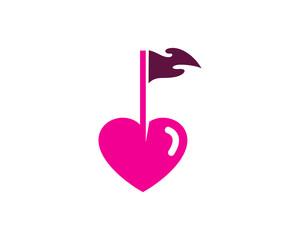 Heart Golf Icon Logo Design Element