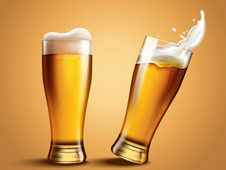 Glass beer cup with splashing beer
