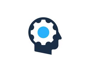 Gear Human Icon Logo Design Element