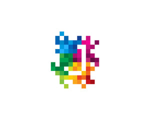 Letter J Pixel Color Mosaic Icon Logo Design Element