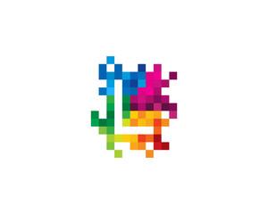 Letter L Pixel Color Mosaic Icon Logo Design Element