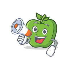green apple character cartoon with megaphone