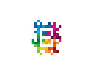 Letter B Pixel Color Mosaic Icon Logo Design Element