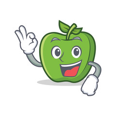 Okay green apple character cartoon