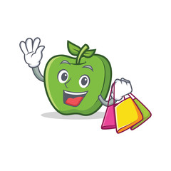 Shopping green apple character cartoon