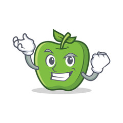 Successful green apple character cartoon