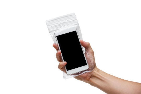 Hand holding a black smartphone with in a waterproof case