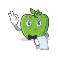 Waiter green apple character cartoon