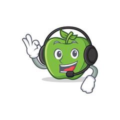 Spoed Foto op Canvas Lieveheersbeestjes green apple character cartoon with headphone