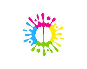Brain Paint Icon Logo Design Element
