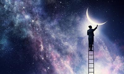 Woman that get moon . Mixed media