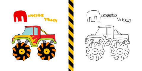 monster truck - vector illustration for coloring page - for children.
