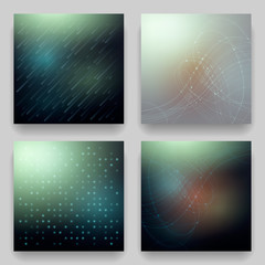 Vector set of four technological cosmic templates for cards. Geometric patterns on blur background on the theme of cosmos, matrix, data transmission, universe, galaxy, Northern Lights.