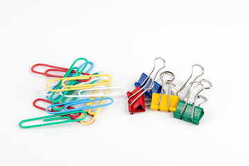 Colorful Paper clip isolated on white background.
