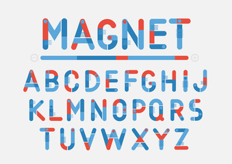Concept of vector blue and red geometric alphabet. Theme of science, magnets, electronics.