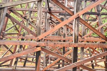 Close-Up View of Wooden Structures of Kinsol Trestle or Koksilah River Trestle