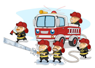 Man Firemen Working Together