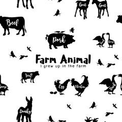 Vector Farm Animals Silhouettes Isolated  ,Vector illustration.Seamless pattern