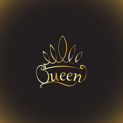 Golden crown and the words Queen. Emblem, logo, badge. drawing. The background is dark. The element of graphic design, printing on t-shirts. Vector images for printing on fabric or paper.
