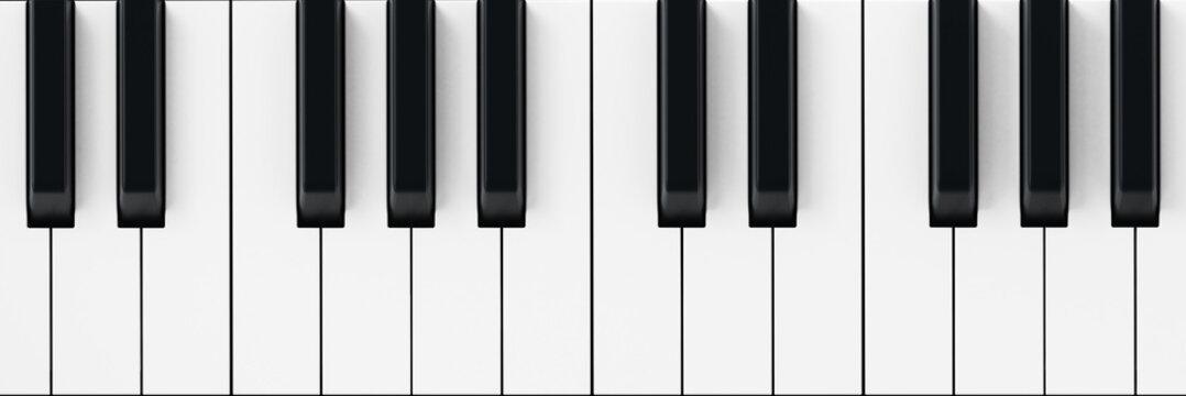 White and black piano keys background. 3D illustration