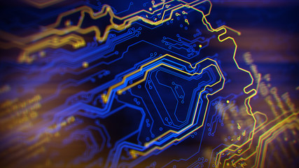 Blue and yellow background with digital integrated network technology. Printed circuit board. Technology background. 3D illustration.