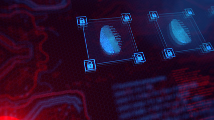 Access control. Fingerprint security. Cybersecurity and information technology. Blue, red background with digital integrated network technology. Printed circuit board. Technology background.