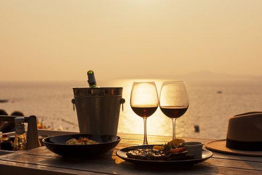 wine dinning on romance sunset