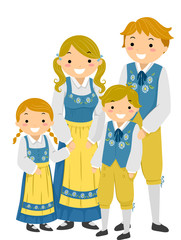Stickman Family Traditional Swedish Clothes