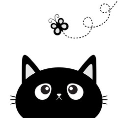 Black cat head silhouette looking at butterfly insect. Dash line track with loop. Cute cartoon character. Pet baby collection Card. Flat design. White background.