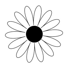 Daisy chamomile shape. Cute flower plant collection. Love card. Camomile line icon Black centre. Growing concept. Flat design. White background. Isolated.