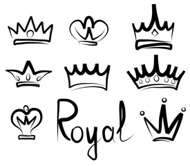 Hand drawn crowns logo and icon collection