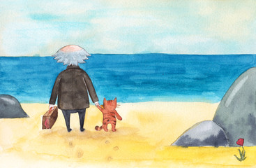 Old man with suitcase and cat come to sea, ocean beach, stand and look at the water and sky, watercolor cartoon illustration. Watercolor picture of old man, cat and sea, off-season jaunt to the beach