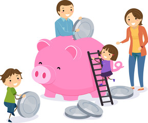 Stickman Family Save Money Piggy Bank