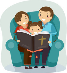 Stickman Family Bible Reading Kid Girl
