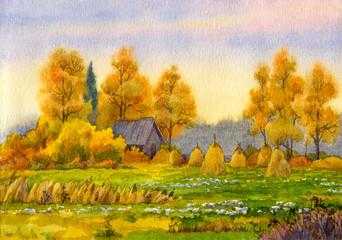 Haystacks on field