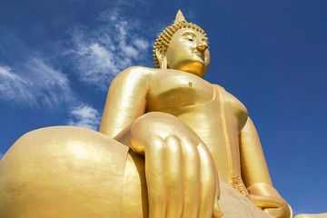 outdoor big gold buddha image in temple for people respect