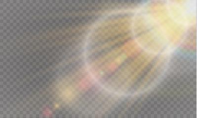 Fototapeta Abstract lens gold front solar flare transparent special light effect design.