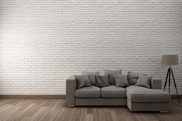 White brick wall & wooden floor with sofa.3D Illustration.