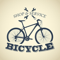 Bicycle label design and logo. Shop and service.