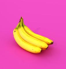 Пучок желтых бананов на розовом фоне. 3d иллюстрации