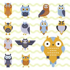 Cartoon owl bird cute character symbol sleep sweet owlet vector illustration.