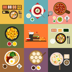 Meal by country vector flat design illustration set