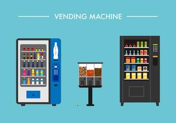 beverage vending machine vector flat design illustration set