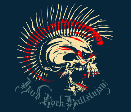 White skull with a Mohawk of bone. A drop of blood and the text Hard Rock Hallelujah. Vector Illustration punk skull with mohawk for t-shirt or tattoo design. Punk rocker. Red.