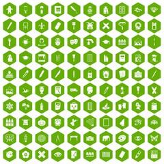 100 paint school icons hexagon green