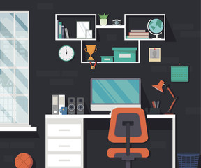 Modern home workspace. Room with window and long shadows in minimalist style. Flat design vector illustration.